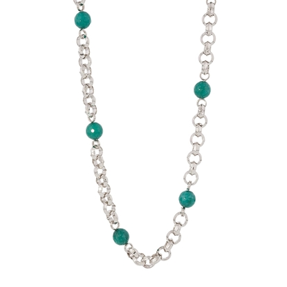 Picture of Forever Bold – Natural Stone Necklace with Malaysian Jade Beads and Silver Tone Chain